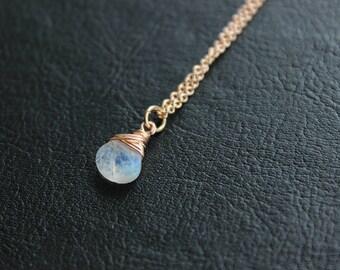 Rainbow Moonstone Rose Gold Necklace