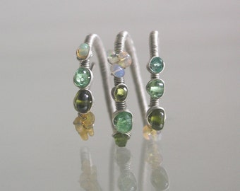 Green Gemstone Argentium Sterling Wire Wrapped Ring with Opal, Tsavorite, Vesuvianite, Emerald, Artist Made Wraparound Ring, Size 8