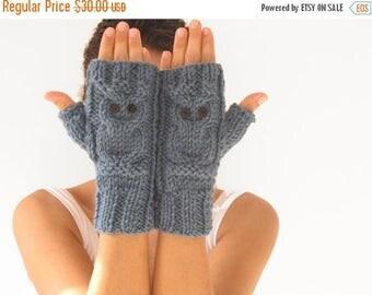 WINTER SALE Owl  Blue Fingerless Gloves - Mittens