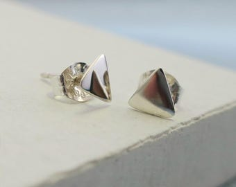Triangle Stud Earrings | Post Stud Earrings | Geometric Jewelry | Small Delicate Everday Jewelry | Sterling Silver