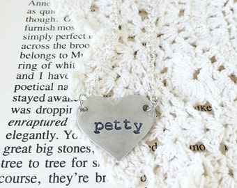 Petty necklace, petty AF heart necklace, pewter hand stamped layering necklace, petty metal stamped jewelry