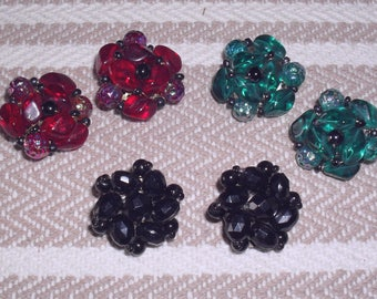 3 Pair of Vintage Glass Bead Clip on Earrings From Germany