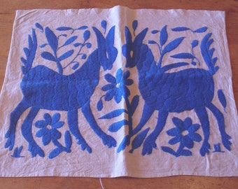 Mexican Otomi  Embroidered Panel Royal Blue Deer for Pillow Wall Hanging or Purse