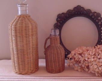 2 Vintage Wicker Wrapped Perfume Vanity Bottles