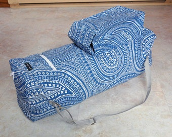 Large yoga bag, extra large yoga mat bag, blue and white yoga mat carrier, zippered yoga tote with pockets, womens fitness bag, pilates bag