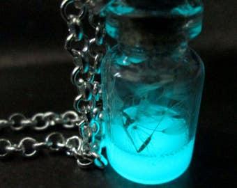 Dandelion Wisp Wish Jar Potion Glow in the dark Necklace Magic Nature Jewelry