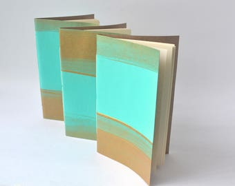 Teal and Gold Painted Soft Cover Notebook, Hand Bound Journal, Quick Notes Notebooks