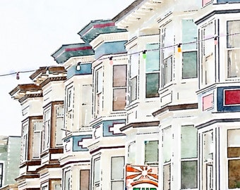 Printable San Francisco Photo Art, North Beach Houses, Instant Download, High Resolution Digital Watercolor Painting