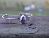 Amethyst and sterling silver cuff - bracelet, natural stone