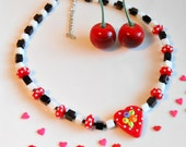 Valentine Necklace - Heart Necklace - Glass Heart Necklace - Polka Dot Heart - Checked Heart Necklace - Lampwork Heart - Cherry Chick