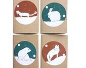 winter animal cards - snow globe mini christmas cards