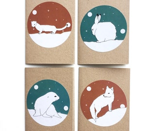 winter animal cards - snow globe mini christmas cards