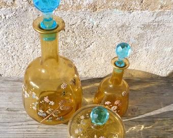 Antique Art nouveau French enamel handpainted Legras crystal Pantin 2 decanters & one sugar cup / liquor / Eau de fleurs d'Oranger