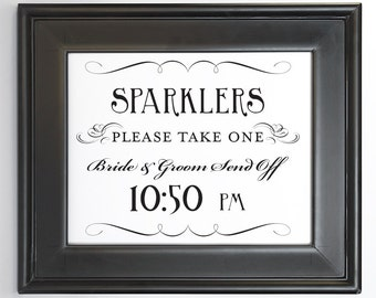 Sparkler Send Off Sign Printable 10:50pm Bride and Groom DIY Digital File PDF Do it Yourself 8x10 and 5x7 Fancy