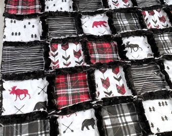Woodland Plaid Quilt - Moose Quilt - Bear Quilt - Arrow Quilt - Red and Black Plaid- Baby Boy Quilt - Baby Boy Bedding - Woodland Nursery