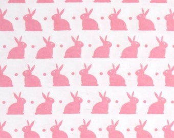 1 YARD - Cute Bunny- Pink/White Flannel by David Textiles Fabric by the yard SALE FLANNEL