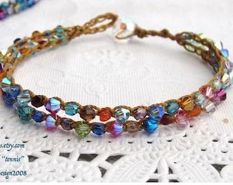 """Spring rainbow crocheted """"tennis"""" bracelet , little boho natural bracelet"""