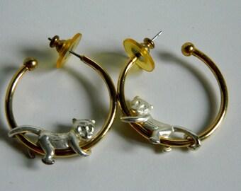 Fanciful Cat on ring earrings - Cat on an earring -