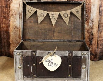 Wedding Card Box with Burlap Banner-Rustic Wedding Card Box-Shabby Chic Wedding Decor, Distressed Card Box, Reception Card Holder,
