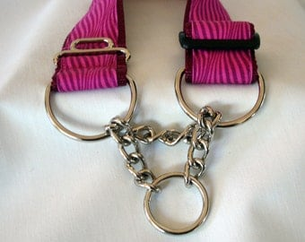 Half Check Dog Collar - Chain Martingale Dog Collar - 1.5 Inches Wide - Adjustable - Limited Slip Style - READY TO SHIP