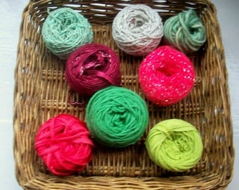DESTASH- big grab bag assorted yarn 157g /5.45ounces Christmas tree green, red, silver