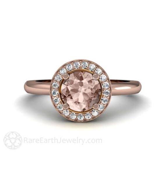 halo morganite engagement ring plain band 14k morganite