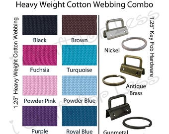 50 Key Fob Hardware / 20 Yards Heavy Weight Cotton Webbing Combo - 1.25 Inch - Plus Instructions - SEE COUPON
