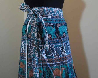 Camels Vintage 70s Hippie Wrap skirt Vintage boho wrap skirt Elephants India cotton wrap skirt Lotus FlowersTeal floral wrap skirt S M