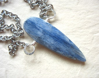 Kyanite Necklace, Blue Kyanite Teardrop Stone Silver Chain Necklace, Handmade Gemstone Necklace