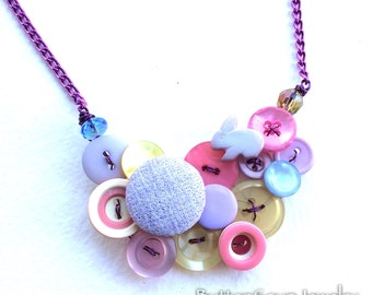 Retro Funky Easter Pastels Necklace from Vintage Buttons with Purple Bunny