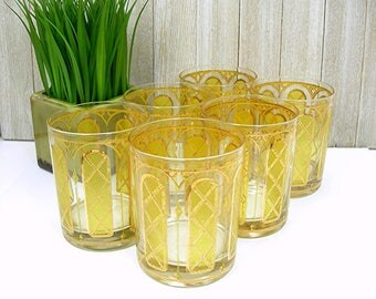 Mid Century Barware Gold Trim Cocktail Glasses, 12 Oz Rocks, Set of 6, Yellow Arches, Man Cave, Vintage Bar Glasses, Home Bar, Beverage