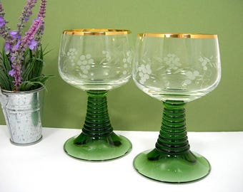 Pair Roemer Wine Goblets, Ribbed Beehive Green Stems, Vintage, Etched Grapes on Clear, Gilt Trim, 8 Oz Capacity, Wedding, Wine Tasting