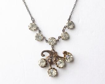 Art nouveau crystal bridal necklace vintage rhinestone brass elegant wedding jewelry gem 1920's style great gatsby bronze antique