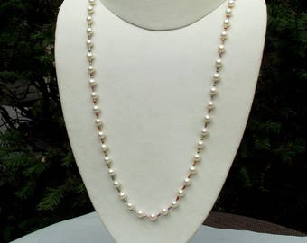 Cultured freshwater pearl LGBTQ necklace hand knotted on silk  24 1/4 inches
