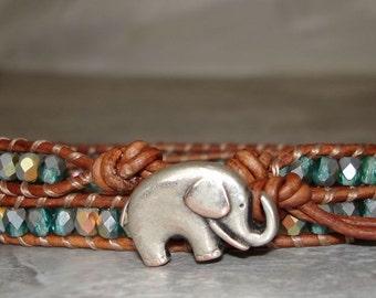 beaded leather wrap, leather wrap bracelet, blue green AB Czech glass beads, elephant button, Two wrap adjustable, boho jewelry, bohemian
