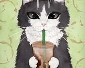 CAT Art Coffee Tuxedo Cat Original Cat Folk Art Watercolor Painting