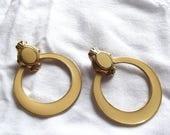 Vintage Pierced Earrings Doorknocker Gold Ornate Buff Enamel 1980s 1990s Modernist