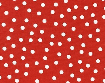 Red Polka Dot fabric, Remix fabric, Red and White, Designer fabric, Ann Kelle for Robert Kaufman, Little Girl Dress fabric, Red fabric