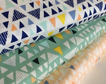 Geometric Decor Fabric, Triangle fabric, Art Gallery fabric, Fat Quarter Bundle, Triangle Bundle of 3, Choose the Cut