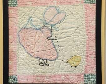Antique Sun Bonnet Sue Framed Quilt Square
