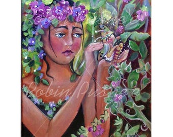 Garden Fairy with Broken Wing, Colorful,Original Acrylic Painting on Canvas, 11x14