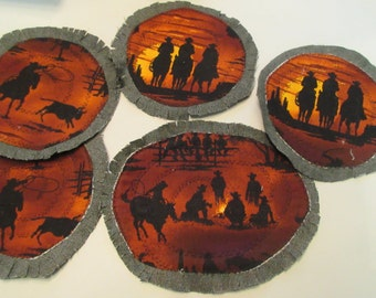 DIY YOU Customize  the Cowboy Campfire Playset + Fusibles to sew on to denim side  Free Shipping
