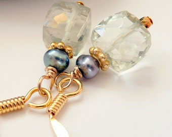Green Amethyst Grey Pearl 14kt Gold OOAK Gemstone Sparkly Minimalist Classic Elegant Boho Hippie Gift for Her Earrings