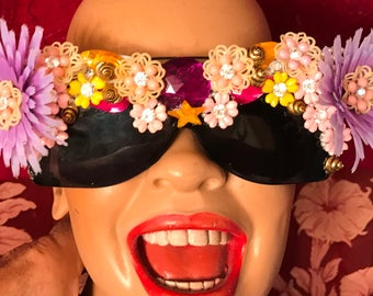 Decorated Purple Flower Sunglasses by Jan Carlin One of a Kind Hollywood Glam