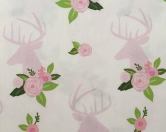 custom bandana bib ~ pink floral deer head ~ drool bib ~ chic couture ~ baby accessories ~ custom made bandana bib from lillybelle designs