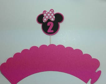Minnie Mouse cupcake toppers wrappers