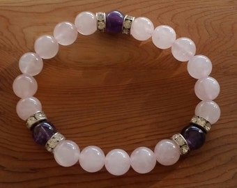 Natural Amethyst & Rose Quartz Bracelet handmade (HGB10828)- Wrist size up to 7 inches- Ship from Canada
