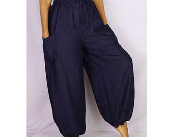 Boho Hippie Dark Blue Rayon Elastic Waist Long Aladdin Summer pants (AP04)