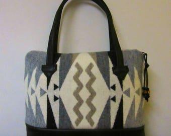 Wool Hand Bag Handbag Purse Skinny Straps Black Leather Native American Print Blanket Wool from Pendleton Oregon
