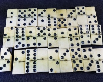 Vintage Cow Bone and Ebony Wood Dominoes Set of 27 Tiles with Original Wooden Box